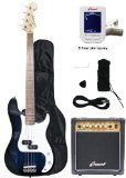 Crescent Electric Bass Guitar Starter Kit – Transparent Blue Color (Includes Amp & Cre ...