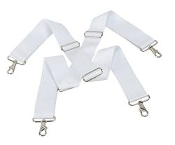 Marching Band Bass Drums Strap – Adjustable Snare Slings w/ Quick Release Clips in White & ...