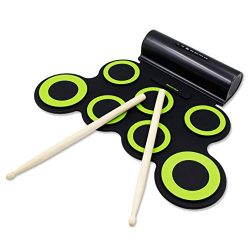 PAXCESS Electronic Drum Set, Roll Up Drum Practice Pad Midi Drum Kit with Headphone Jack Built-i ...