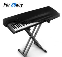 JamBer Stretchable Electronic Piano Keyboard Dust Cover for 88 Key Keyboard, Black