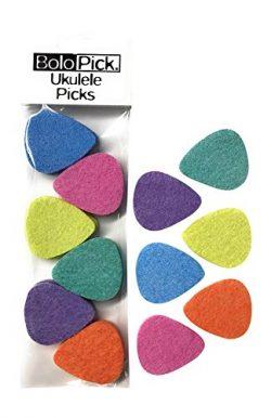BoloPick, 12 Ukulele Picks, Felt Picks, Economy Pack (12 Pack, Multi Color Fiesta)