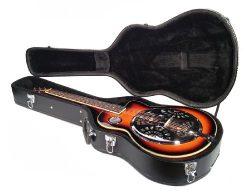 RESONATOR GUITAR in HARD CASE Acoustic-Electric Steel Pan SAPELE Bluegrass Blues
