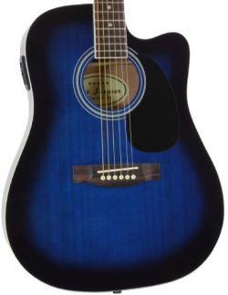 Jameson Guitars Full Size Thinline Acoustic Electric Guitar with Free Gig Bag Case & Picks B ...