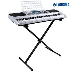 LAGRIMA 61 Key Music Digital Electronic Keyboard Electric Piano Organ w/Stand Silver