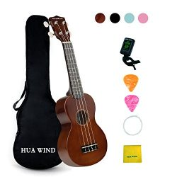 Soprano Ukulele For Beginners Four String Ukulele Start Pack W/ Gig Bag Tuner Picks Polish Cloth ...