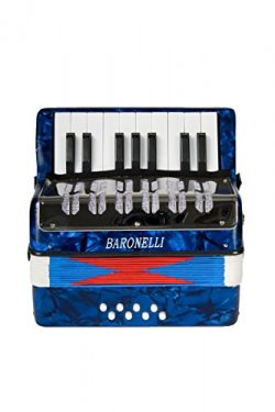 Baronelli Blue Beginner Educational 17 Key Junior Accordion with adjustable Straps, & Direct ...
