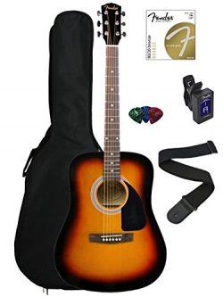 Fender FA-100 Dreadnought Acoustic Guitar – Sunburst Bundle with Gig Bag, Tuner, Strings,  ...