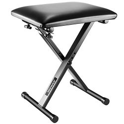 Neewer X-Style Piano Keyboard Bench Stool Chair – Electronic Organ Bench with Leather Pad, ...