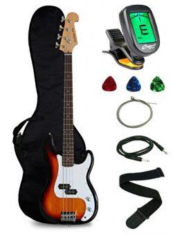 Crescent Electric Bass Guitar Starter Kit – Sunburst Color (Includes CrescentTM Digital E- ...