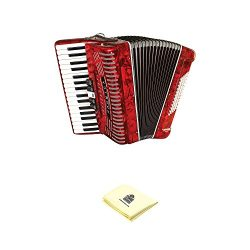 Hohner Accordion 1305-RED 97 Key 72 Bass Style Keyboard Piano Accordion in Red Bundle with Zorro ...