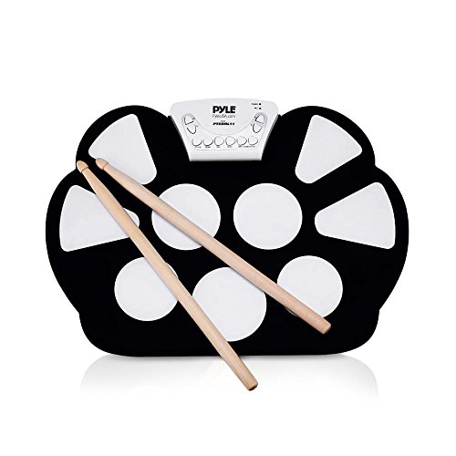 Pyle Electronic Roll Up MIDI Drum Kit W/ 9 Electric Drum Pads, Built-In Speakers, Foot Pedals, D ...