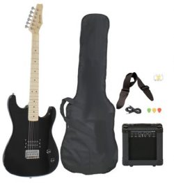 Full Size Black Electric Guitar with Amp, Case and Accessories Pack Beginner Starter Package