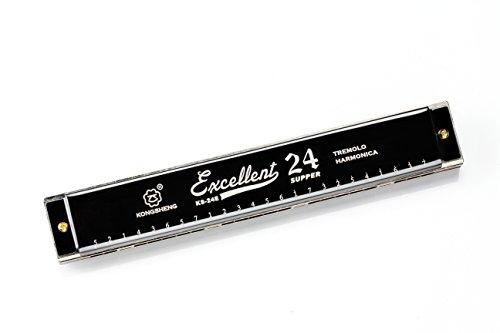 Cheetah 24 Holes Double Tremolo best harmonica, Key of C Prime (Black)