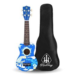 Honsing Soprano Ukulele With Gig Bag New Basswood Soprano Uke Hawaii kids Guitar 21″- Blue ...