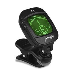 Mugig Tuner Clip-on Tuner for Guitar, Ukulele, Bass, Violin, Chromatic Tuning,Large Clear Colorf ...