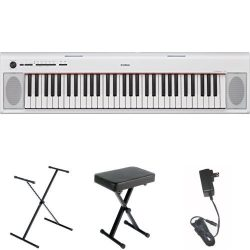Yamaha NP32 76-Key Lightweight Portable Keyboard, White, with Stand, Bench, and Power Supply