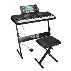 RockJam RJ761-SK Key Electronic Interactive Teaching Piano Keyboard with Stand, Stool, Sustain p ...