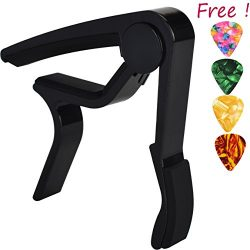 Sound harbor MA-10 black Guitar Capo – Musicians Recommended Capo for Acoustic,Electric or ...