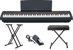 Yamaha P115 88 Weighted Key Digital Piano Bundle with Knox Double X Stand, Knox Large Bench and  ...