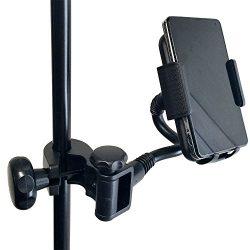 AccessoryBasics Music Mic Microphone Stand Smartphone Mount w/Multi Angle 360° Swivel Adjust Hol ...