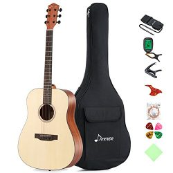 "Donner DAG-1 Beginner Acoustic Guitar Full-size,41"" Dreadnought Spruce Guitar Package with ..."