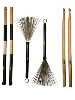 ROSS RP Jazz Acoustic Brush and Stick Set: Bamboo Rods, Drum Brushes, 7A Hickory Drumsticks