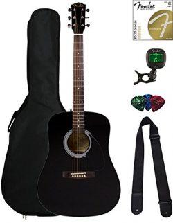 Fender FA-100 Dreadnought Acoustic Guitar – Black Bundle with Gig Bag, Tuner, Strings, Str ...