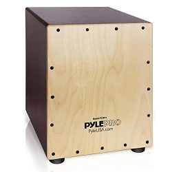 Pyle Stringed Birch Wood Compact Acoustic Jam Cajon – Wooden Hand Drum Percussion Box with ...