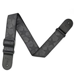 Black Planet Guitar Strap for Acoustic Electric Bass Guitar Ukulele-Soft Woven Belt with Genuine ...