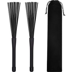Pangda 1 Pair Drum Brushes Retractable Nylon Drum Brushes Cajon Brush Percussion Drumbrushes Sti ...