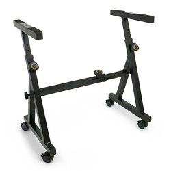 Plixio Heavy Duty Z Style Keyboard Piano Stand – Fully Adjustable and Portable (With Wheels)