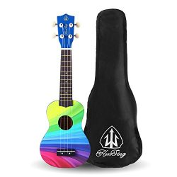 Honsing Soprano Ukulele Beginner Hawaii kids Guitar Uke Basswood 21 inches with Gig Bag- Rainbow ...