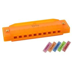 Kids Harmonica 10-Hole Music Creation Pro Colorful Translucent Tuned Educational Mouth Organ wit ...
