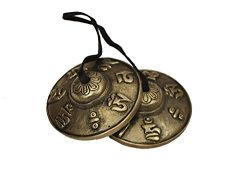 Dharma Store – Tibetan Tingsha Cymbals – 6.6 cm – OM Mane Padme Hum Symbols Em ...