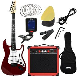 LyxPro Electric Guitar with 20w Amp, Package Includes All Accessories, Digital Tuner, Strings, P ...