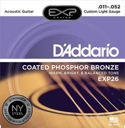 D'Addario EXP26 with NY Steel Phosphor Bronze Acoustic Guitar Strings, Coated, Custom Ligh ...