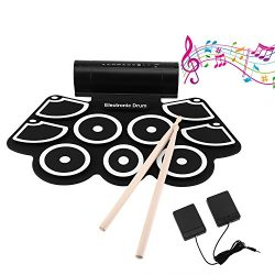 OCDAY 9 Pad Portable Electronic Drum Set Portable Drum Practice Pad Silicon Roll Up Electronic D ...