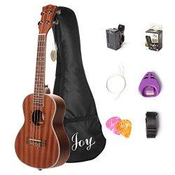 Joy JOY312 Concert Sapele Ukulele with Bag, Strap, Digital Tuner, Picks, Pick Holder, Additional ...