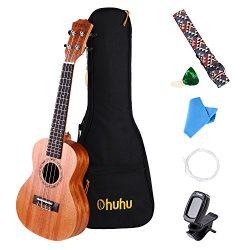 Concert Ukulele, Ohuhu 23 Inch Mahogany Uke Ukulele Set for Beginners, Including Ukele Tuner, Uk ...