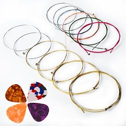Acoustic Guitar Strings, Kinbom 2 Sets of 6 Medium Guitar Strings, 1 Gold and Silver Pack with 1 ...
