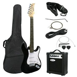 ZENY 39″ Full Size Electric Guitar with Amp, Case and Accessories Pack Beginner Starter Pa ...