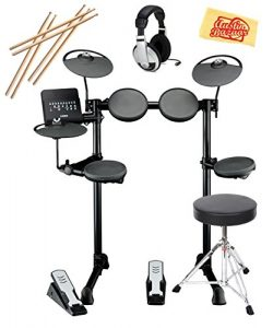 Yamaha DTX400K Electronic Drum Set Bundle with Drum Throne, Drum Sticks, Headphones, and Polishi ...
