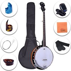 ADM 5-String Banjo 24 Bracket with Closed Solid Wood Back and Geared 5th Tuner, Beginner Pack wi ...