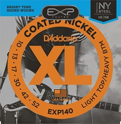 D'Addario EXP140 Coated Electric Guitar Strings, Light Top/Heavy Bottom, 10-52