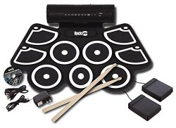 RockJam RJ760MD Electronic Roll Up MIDI Drum Kit with Built in Speakers, Foot Pedals, Drumsticks ...