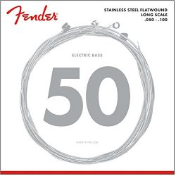 Fender 9050ML Stainless Steel Flatwound Long Scale Electric Bass Guitar Strings – Medium Light
