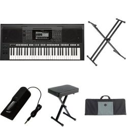 Yamaha PSR-S770 61-Key Arranger Workstation with Yamaha Stand, Bench, Case, and Foot Pedal