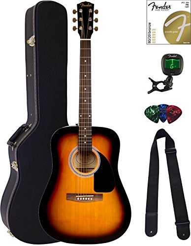 Fender FA-100 Dreadnought Acoustic Guitar – Sunburst Bundle with Hard Case, Tuner, Strings ...