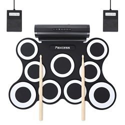 9-Pad Foldable Electronic Drum Set, Paxcess Electric Roll up Drum Pads MIDI Drum Kit with Headph ...