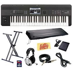 Korg KROME 61-Key Music Workstation Keyboard & Synthesizer Bundle with Keyboard Stand, SD Ca ...
